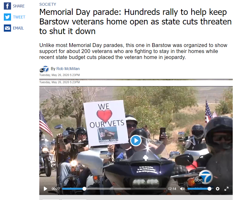 ABC 7 News Coverage of Memorial Day Rally